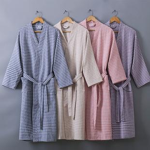 纯棉纱布浴袍男女和服睡衣汗蒸服