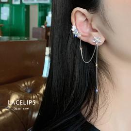LACELIPS 锆石花朵流苏耳骨夹耳骨夹耳钉2020新款潮长款耳环女