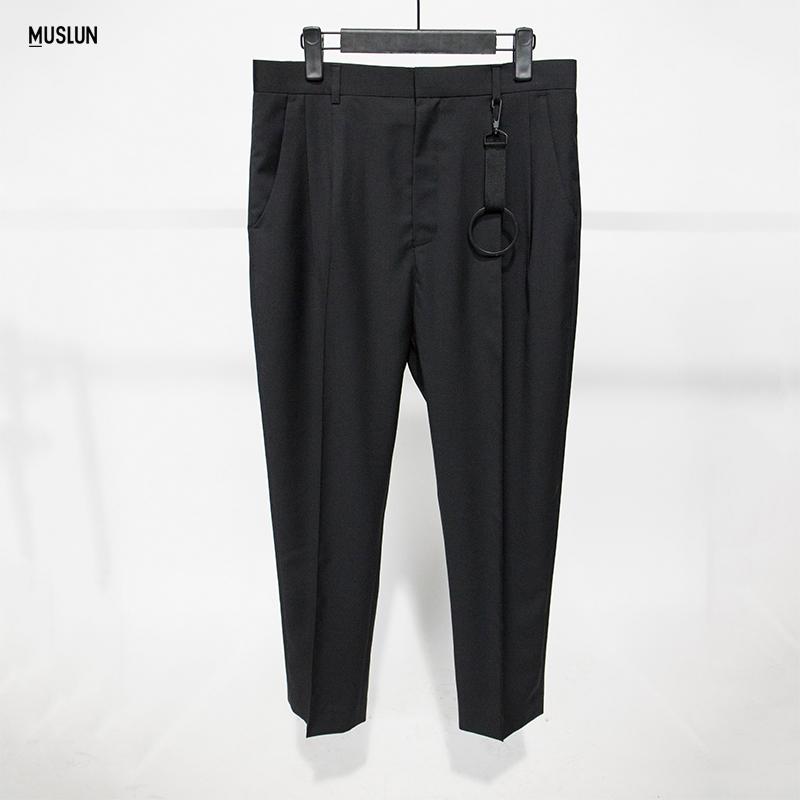 设计师品牌MUSLUN个性圆环装饰西装九分裤夏季免烫薄西裤男潮舒适