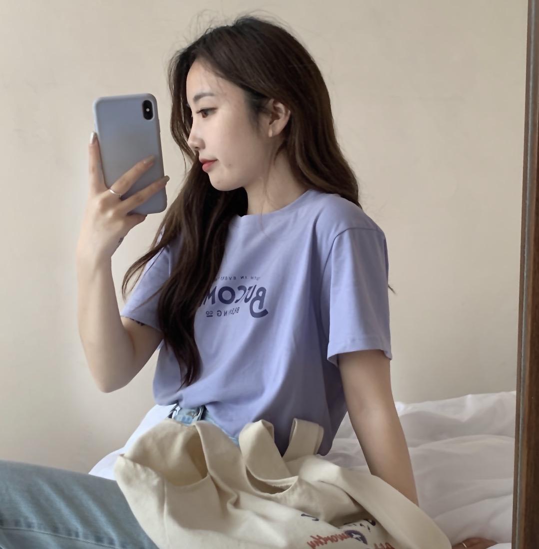 Busan  宽松百搭短袖t恤女2021年夏季新款打底衫洋气减龄半袖上衣