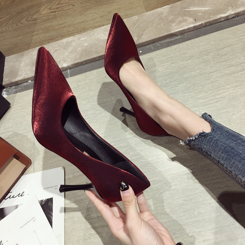 High heeled shoes women 2019 new Korean version versatile super shallow mouth pointed thin heel sexy single shoes girl little fresh wedding shoes