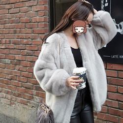 毛绒皮草外套女2020秋冬仿水貂绒大衣中长款兔毛茸茸宽松开衫特价