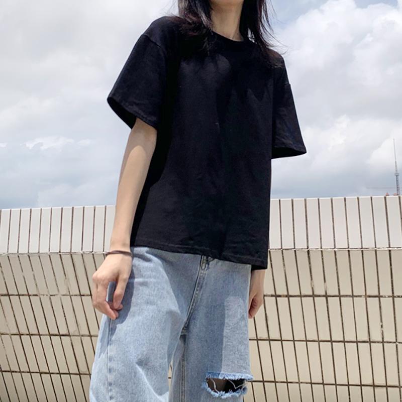 纯色短袖t恤女宽松春夏新款2020纯棉半袖韩版女装休闲ins潮上衣黑