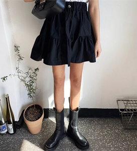 夏季韩国东大门高腰A字半身裙伞裙女抽绳拼接蓬蓬小黑裙褶皱短裙