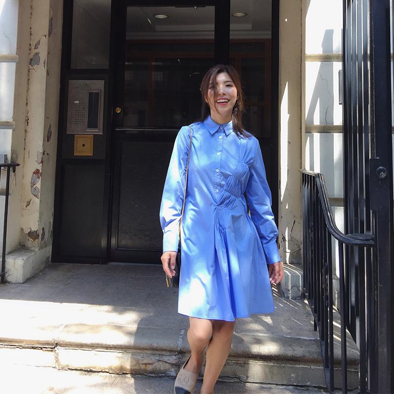 Shrimp self made autumn solid college style long sleeve waist shirt asymmetric pleated single breasted dress