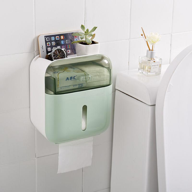 卫生间纸巾盒壁挂式防水免打孔厕所卫生纸置物架卷纸厕纸盒抽纸盒