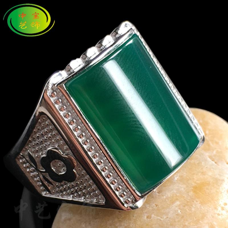天然玛瑙纯银白金男士款玉髓扳指大粗拇指食指中指活口戒指玉指环