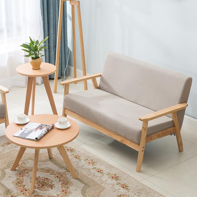 小户型木沙发简约现代租房客厅椅布艺网红款单人双人北欧日式简易