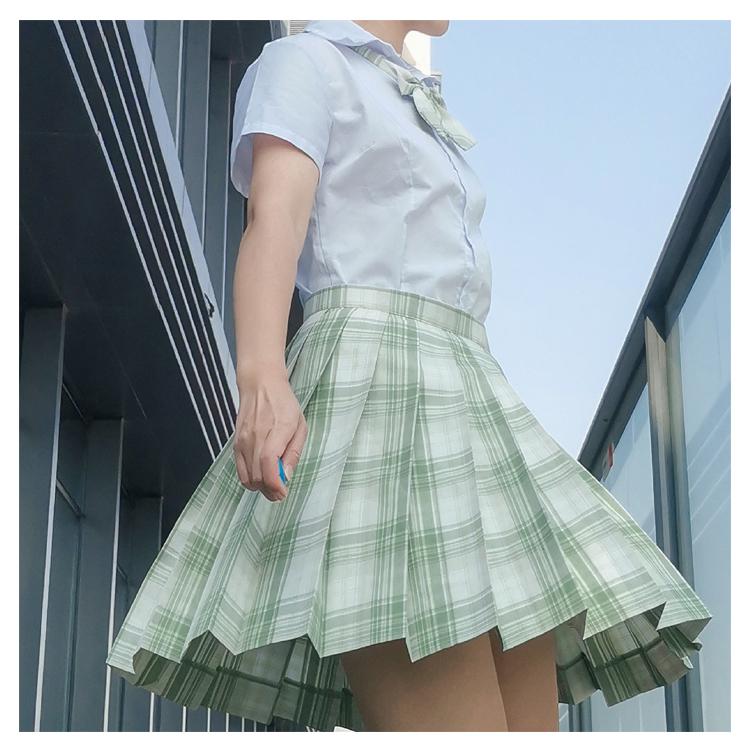 Yixiang February mid spring Japanese JK medium length pleated skirt Plaid original skirt womens high waist short skirt academy style