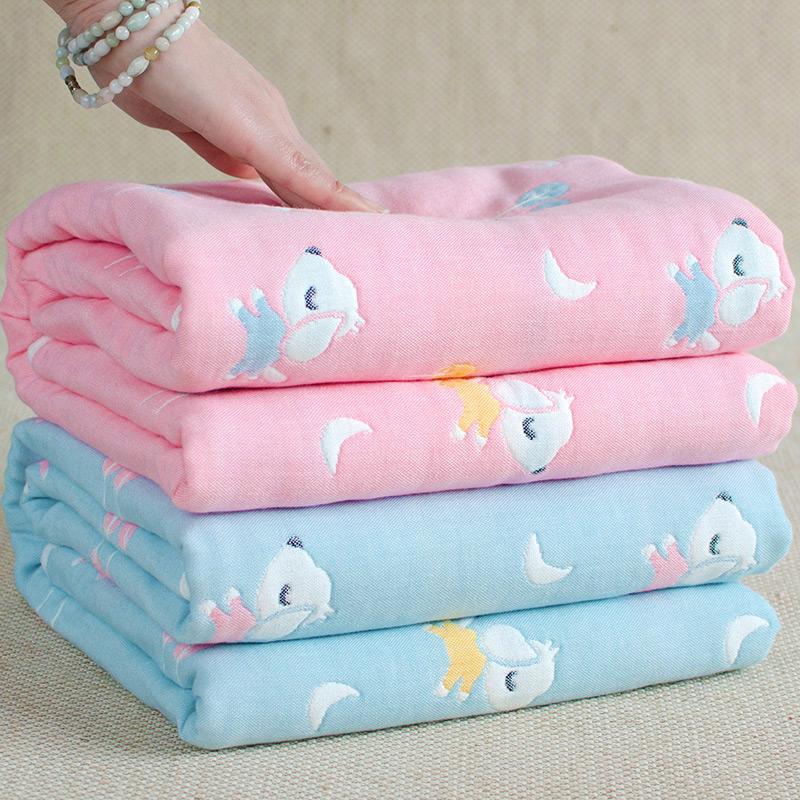 婴儿浴巾宝宝新生儿童初生洗澡6层纯棉纱布毛巾被子盖毯超柔吸水