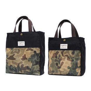 手提帆布午餐包带饭包迷彩饭盒袋子