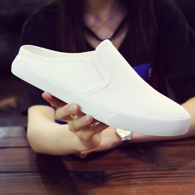 2020春夏半拖鞋男式帆布鞋平底低帮一脚蹬懒人鞋青年韩版休闲男鞋