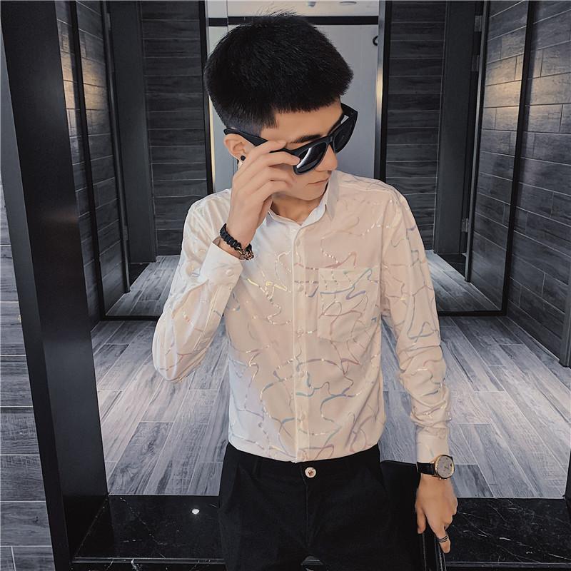 2021社会小伙亮面衬衫修身时尚长袖衬衣气质 C301-C1901-P55