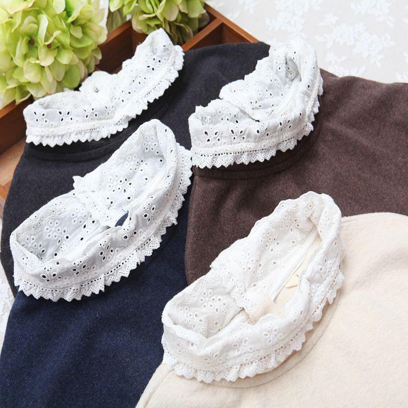 秋冬款舒适棉质弹力加厚磨毛半高领刺绣长袖套头打底T恤衫上衣女