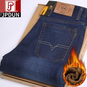 JPDUN加绒加厚牛仔裤男直筒宽松弹力秋冬厚款中年男士休闲长裤子