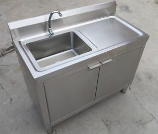厨房不锈钢水池双槽柜式落地一体式洗菜盆洗碗池架子带操作台橱柜