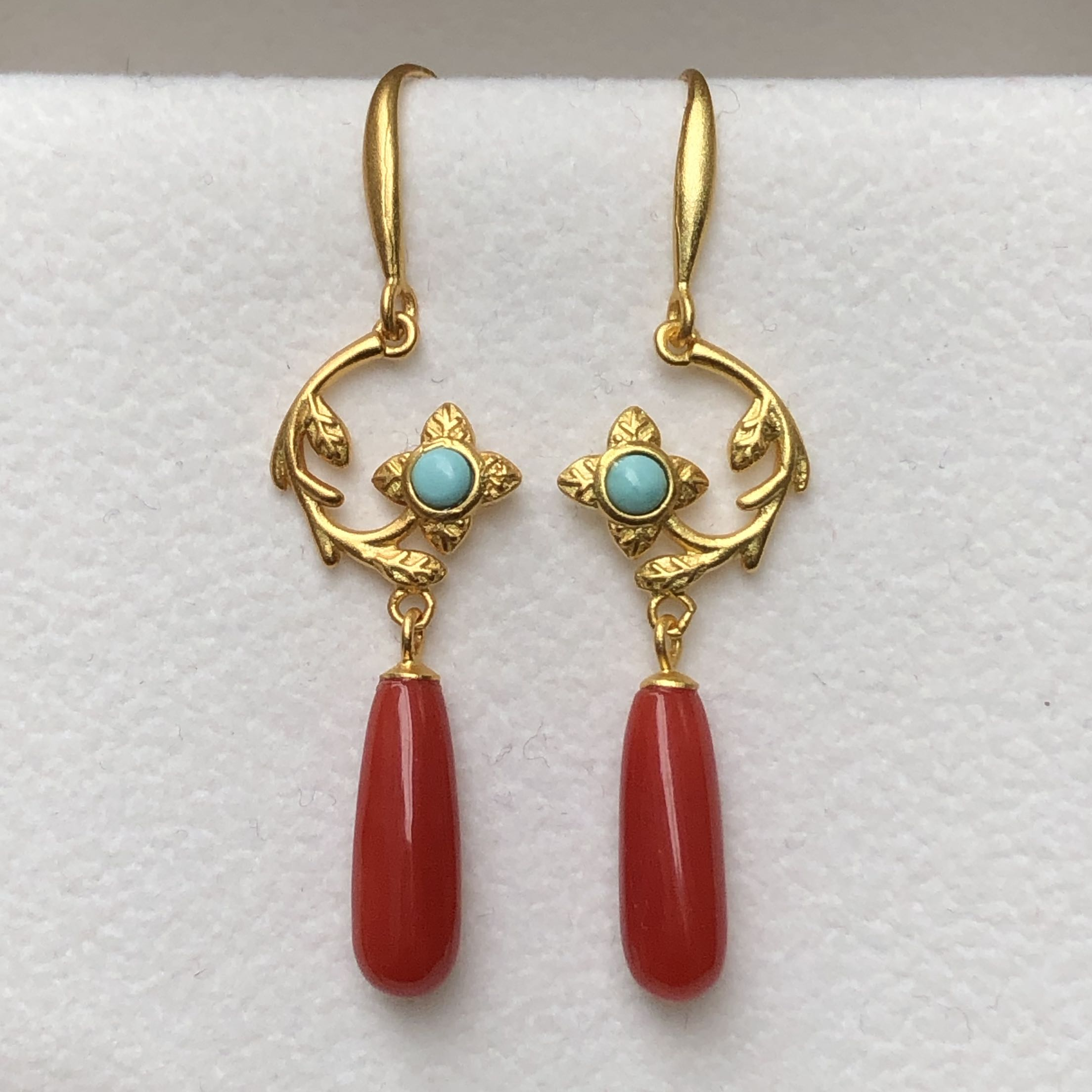 Organic Ruby earrings earrings earrings earrings ancient silver craft upper body super beautiful natural red