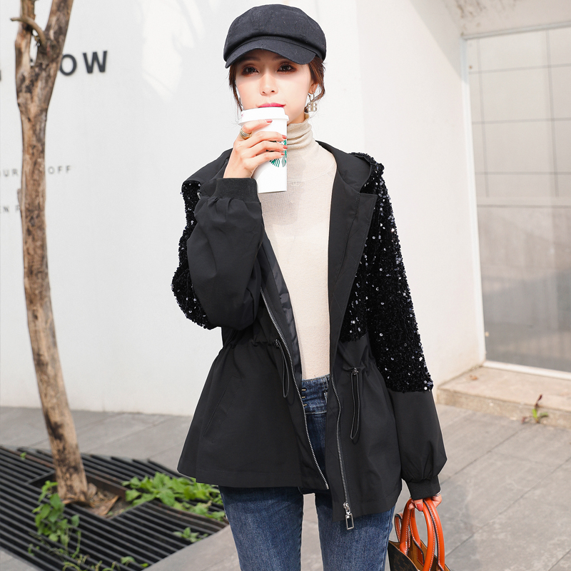Personalized stitching sequins thickened Jacket Womens short fall winter 2020 new waist down casual jacket hooded top fashion