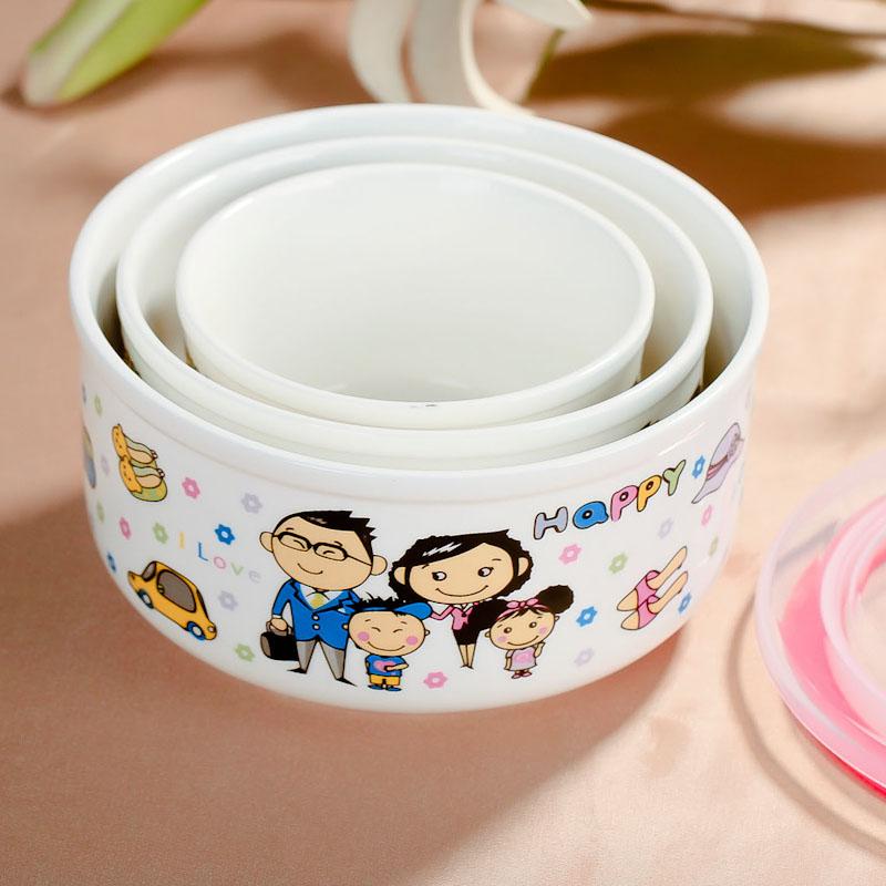保鮮盒骨瓷保鮮碗微波爐 飯盒陶瓷碗三件套裝密封盒便當包郵特