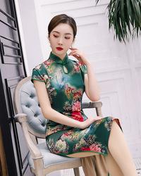 张曼玉同款益佳红旗袍2020晨恋旗舰店连衣裙水调歌头懿菲女装