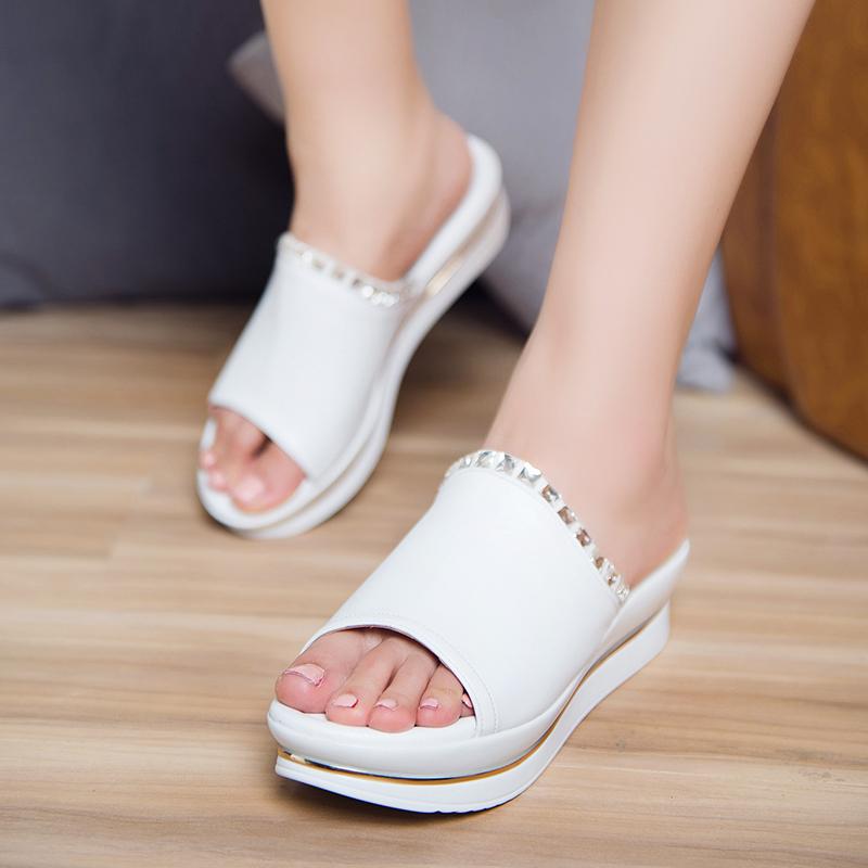 2017夏季新款女拖鞋舒适坡跟女凉鞋厚底松糕鱼嘴凉拖高跟一字拖鞋