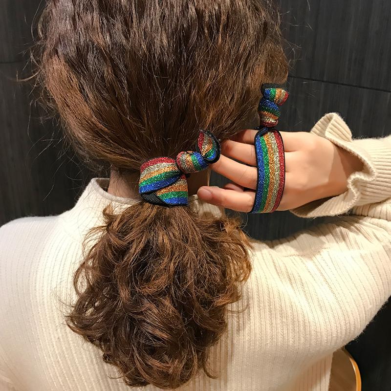 韓國秋冬簡約彩虹發繩橡皮筋發飾可愛扎頭發豹紋發圈頭繩女高彈力