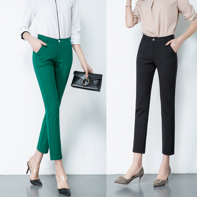 夏季新款百搭显瘦大码七分裤女 休闲弹力小直筒九分女裤多色薄款