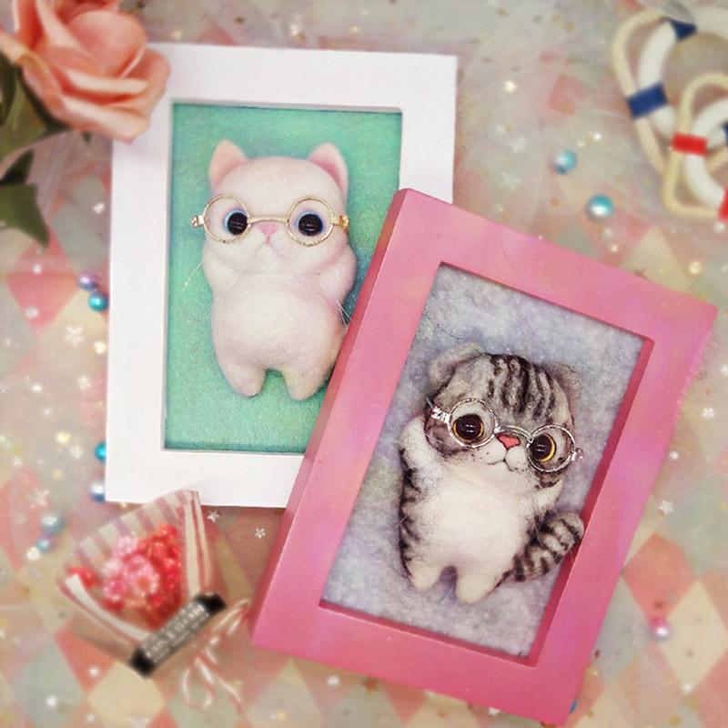 手工绣DIY 相框猫咪动物定制 羊毛毡戳戳乐材料包 制作布艺不织布