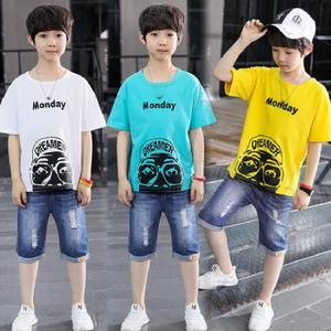 宅时尚夏装男童韩版个性纯棉t恤潮儿童时尚街头印花中袖上衣