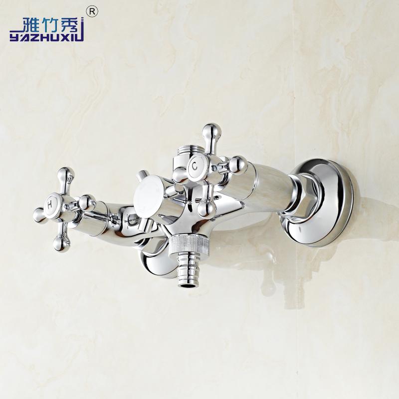 雅竹秀入牆式全銅洗衣機冷熱水龍頭雙把淋浴花灑雙用多 混水閥