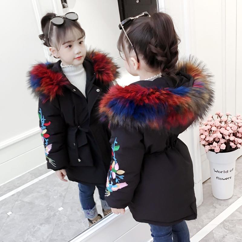 女童棉衣2018新款韩版冬季中长款外套儿童加厚棉服宝宝洋气冬装潮