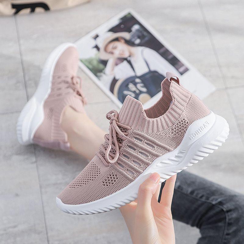 夏季时尚镂空透气飞织女鞋轻便舒适女子运动休闲鞋大码40