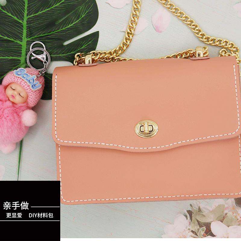 Tiktok woven handbag DIY material package leather envelope package custom postage bag semi finished single shoulder bag