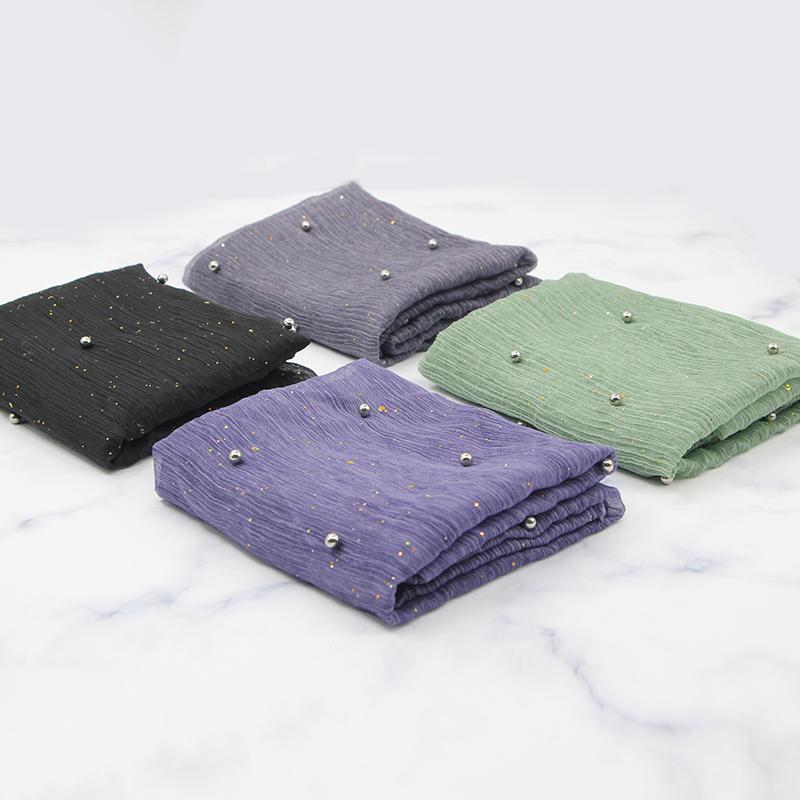 B-2063 网纱镶珠绉布时尚束口包布料手工布艺diy箱包面料衣服辅料