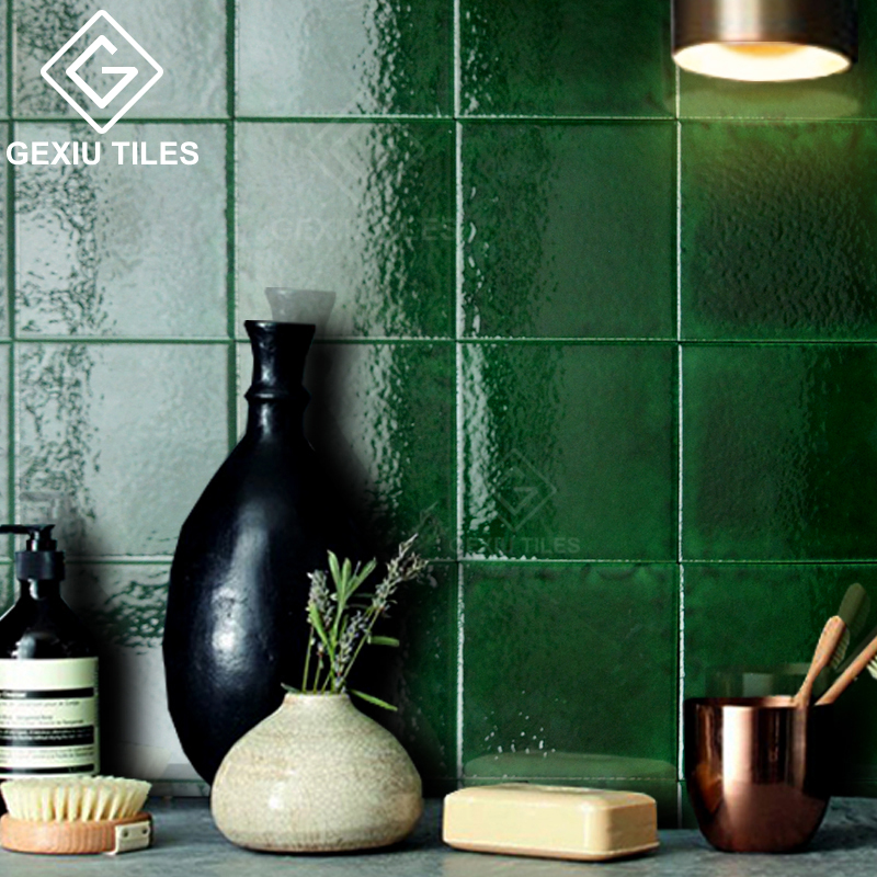 北欧手工冰裂纹小方砖卫生间墙砖墨绿色砖餐厅厨房网红砖厕所瓷砖