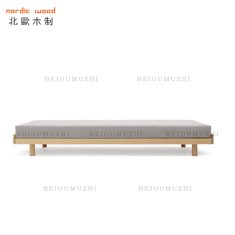 Nordic Japanese oak tatami bed loft low bed simple modern black walnut solid wood bedstead bedstead customization