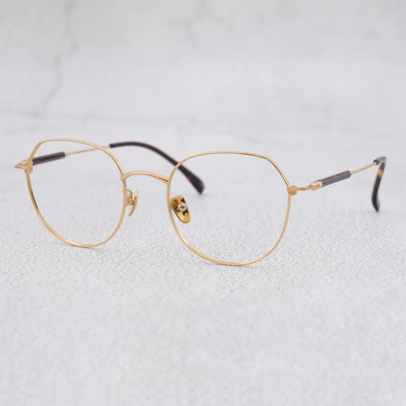 日本设计师品牌 简约近视方框不规则眼镜架 高品质β钛男女眼镜框
