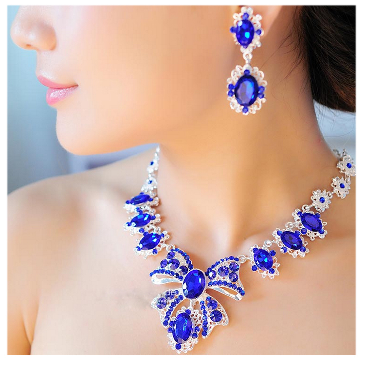 Postal blue Bridal Jewelry Wedding Accessories Rhinestone Tassel Necklace Earring Set alloy silver plated chain Korean jewelry