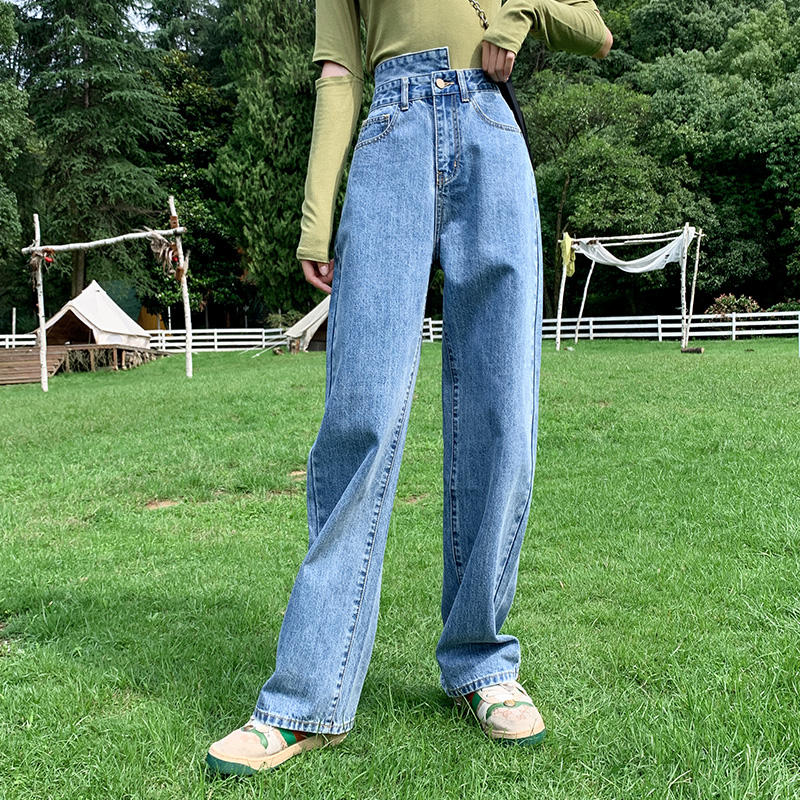实拍新款泫雅阔腿裤女高腰牛仔裤女时尚百搭直筒宽松垂感拖地裤子