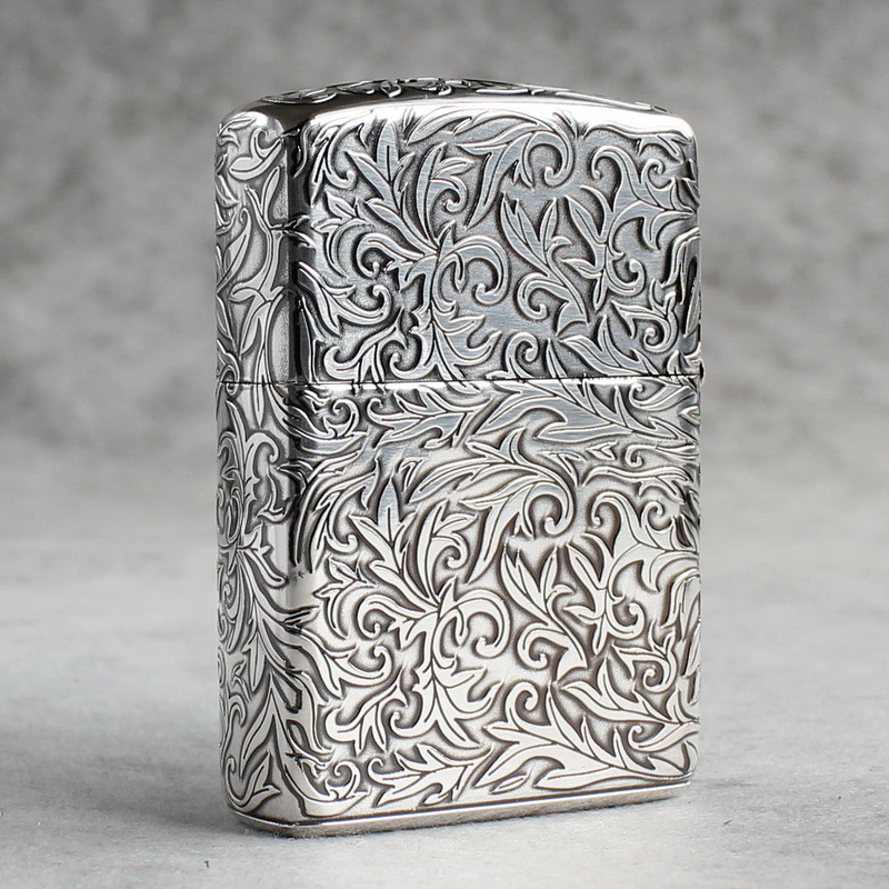 Genuine Zippo windproof lighter Japanese silver armor surrounded by tangcao limited in the middle on five sides