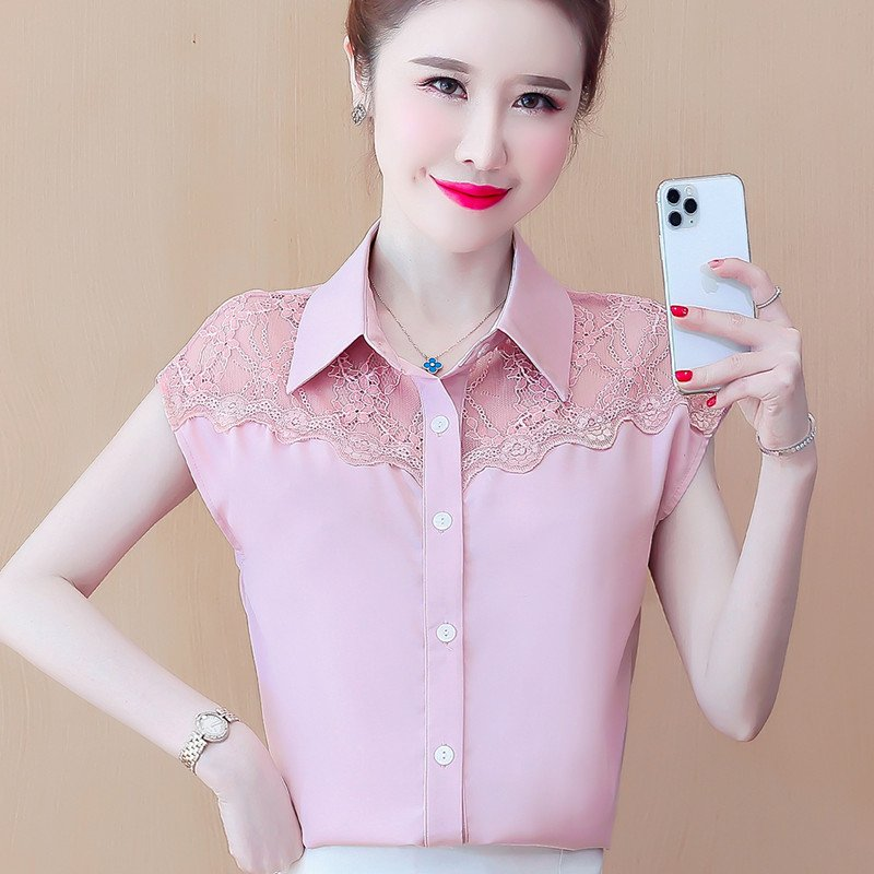 Show tricolor foreign style chiffon shirt womens short sleeve 2021 new summer fashion doll collar lace splicing top