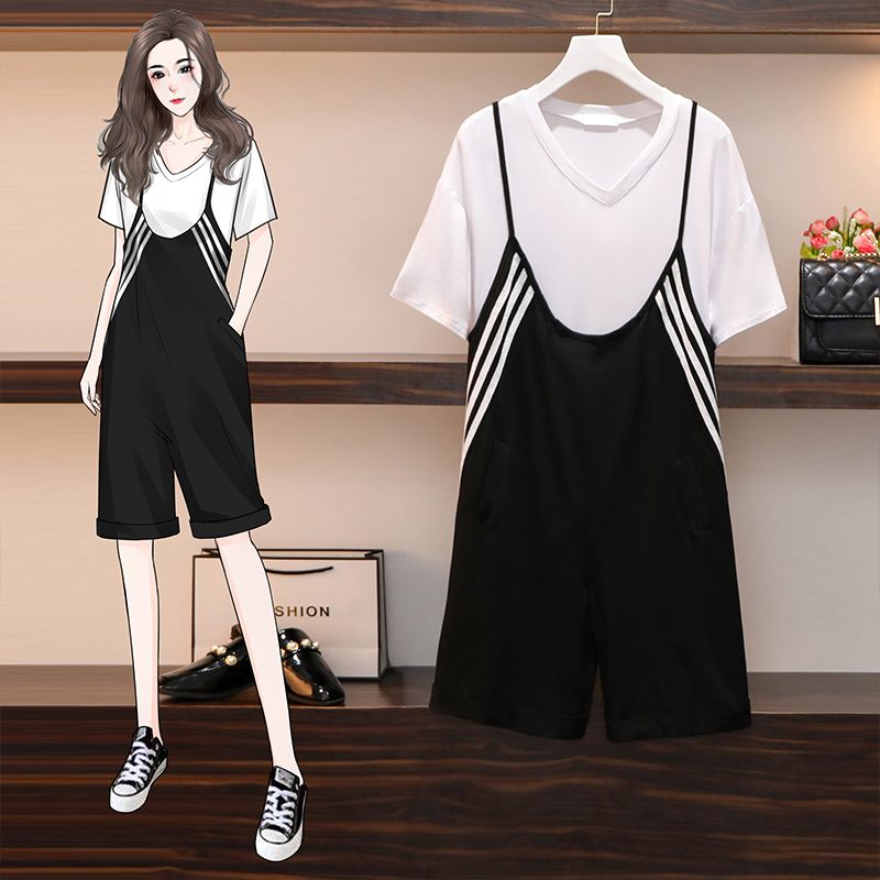 Large summer clothes fat mm fashionable foreign style young casual solid T-shirt with flesh covering and thin suspender one-piece pants set