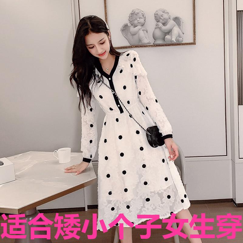 78.30元包邮秋装新款韩版小码女装XS娇小矮个子150cm时尚长袖名媛法式连衣裙