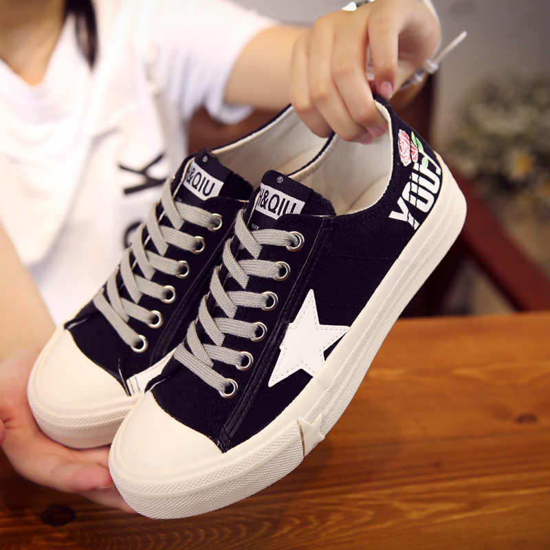 Small daisy canvas shoes womens Korean version of versatile high rise soled shoes