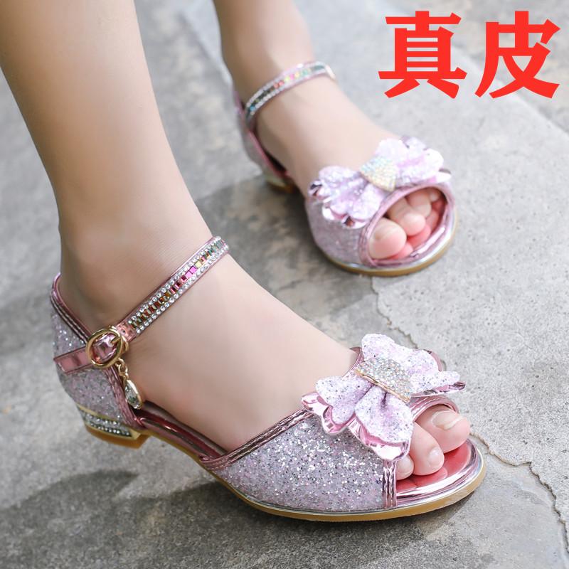 女童凉鞋2020新款时尚夏季水晶鞋儿童公主鞋高跟中大童真皮表演鞋
