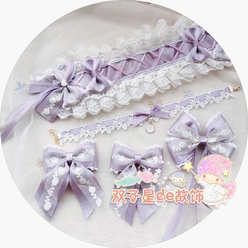 [original] hand made Lolita soft girls light purple hair with Lolita girls collarbone chain