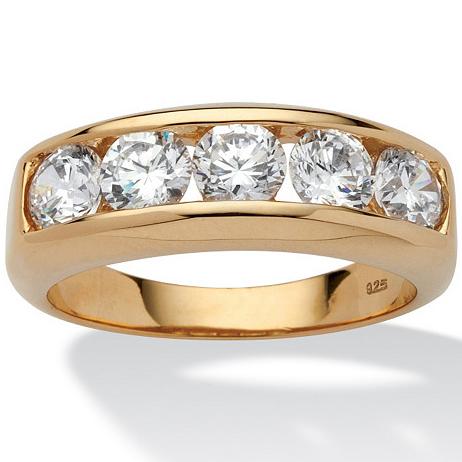 立方氧化锆/925银镀18k黄金镂空男士戒指结婚戒指美国代购49161