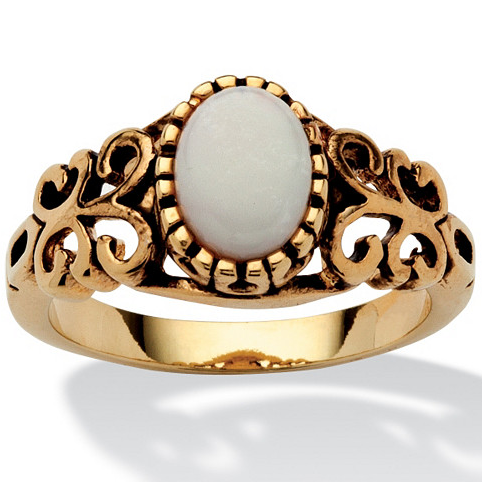 Opal (opal, Aobao) ring holder 14K Gold Plated, hollow out and retro womens ring, purchased from USA 6369