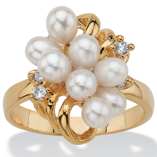 Pearl / crystal / ring holder 14K Gold Plated Vintage Womens ring