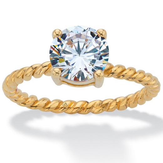 Cubic zirconia (Soviet Union diamond) / 925 silver plated 18K Gold twist tie womens engagement ring 63594
